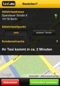 TaxiEU - Bestellen
